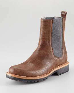 Brunello Cucinelli Textured Leather Chelsea Boot