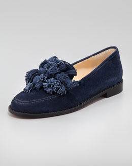 Christian Louboutin Japonaise Tassel Red Sole Loafer, Navy