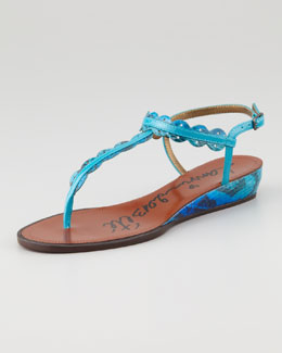 Lanvin Snakeskin Mini Wedge Sandal, Blue