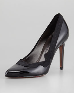 Lanvin Grosgrain-Trim Leather Pump