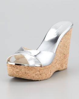 Jimmy Choo Perfume Cork Wedge Slide, Silver