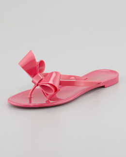 Valentino Jelly PVC Bow Thong Sandal, Pop Fuchsia