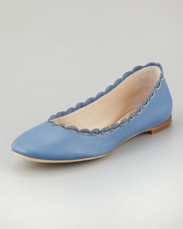 Chloe Scalloped Chain Ballerina Flat, Blue