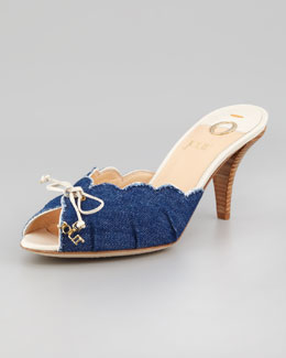 O Jour Denim Kitten-Heel Mule