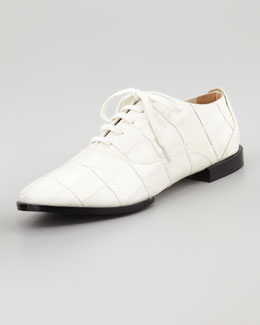 Alexander Wang Ingrid Crocodile-Embossed Oxford, Malt
