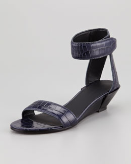 Alexander Wang Vika Low-Wedge Crocodile-Embossed Sandal, Blue