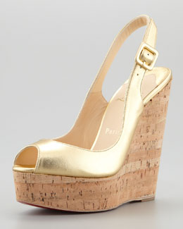 Christian Louboutin Cork Slingback Wedge, Gold