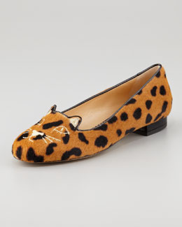 Charlotte Olympia Kitty Cat-Face Calf Hair Slipper