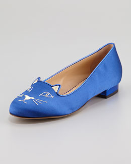 Charlotte Olympia Kitty Satin Flat Slipper, Blue