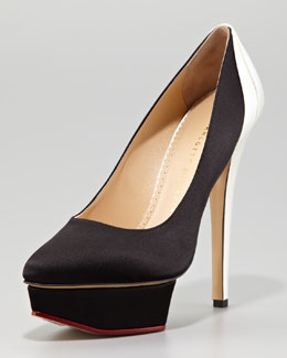Charlotte Olympia Masako Two-Tone Satin Pump, Black/White