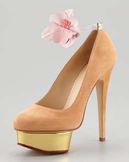Charlotte Olympia Dolly Removable-Strap Platform Pump, Caramel