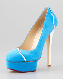Charlotte Olympia Suede Leather-Trim Platform Pump