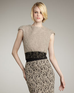 Mark + James by Badgley Mischka Curly Plush Short-Sleeve Top