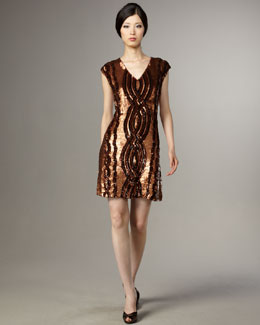 Tracy Reese Sequined-Cable Shift Dress