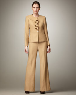Albert Nipon Ruffle-Front Wide-Leg Suit