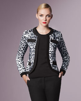 Michael Simon Animal-Print Jacket, Petite
