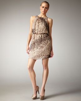 Tibi Leopard-Print Blouson Dress