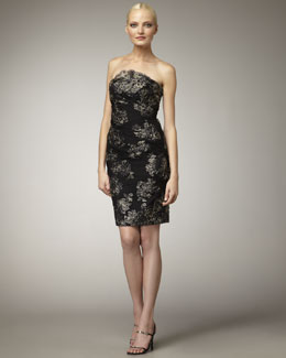 Theia Strapless Embroidered Lace Dress