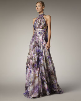 Badgley Mischka Halter-Neck Printed Gown