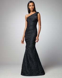 David Meister One-Shoulder Mermaid Gown