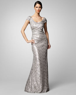 David Meister Scoop-Neck Sequin Gown