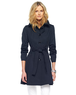 MICHAEL Michael Kors  Single-Breasted Trench, Black or Truffle