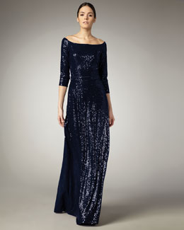 David Meister Sequined Bateau-Neck Gown