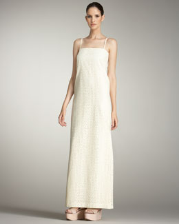 Cacharel Eyelet Shift Maxi Dress