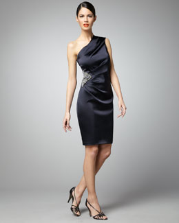 David Meister Side-Beaded One-Shoulder Cocktail Dress