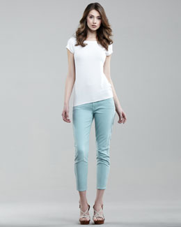 7 For All Mankind Cropped Skinny Twill Pants, Aqua