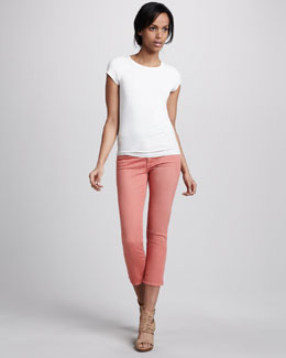7 For All Mankind Cropped Skinny Twill Pants, Coral