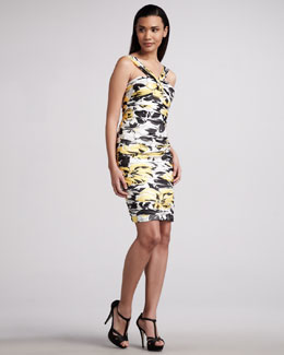 Carmen Marc Valvo Printed V-Neck Cocktail Dress