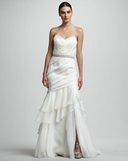 Theia Tiered Organza Mermaid Gown