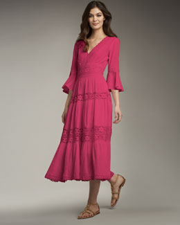 Neiman Marcus Lace-Insert Gauze Dress