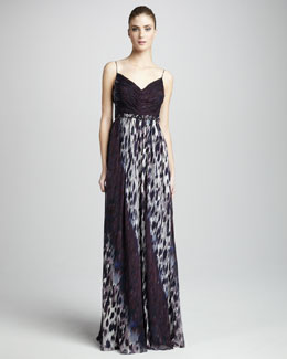 Robert Rodriguez Black Label Olivia Animal-Print Silk Gown