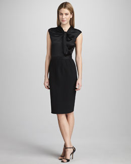 Carmen Marc Valvo Crepe-Bottom Cocktail Dress