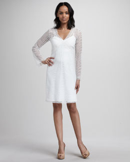 Phoebe Couture Bell-Sleeve Crochet Dress