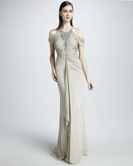 Badgley Mischka Beaded Cold-Shoulder Gown