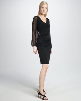 David Meister Women's Illusion-Sleeve Cocktail Dress, Women's
