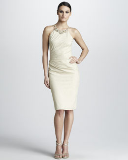 David Meister Beaded Jacquard Dress