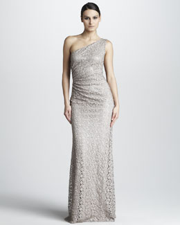 David Meister One-Shoulder Lace Gown