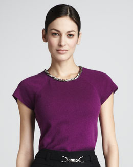 Magaschoni Embellished Short-Sleeve Sweater