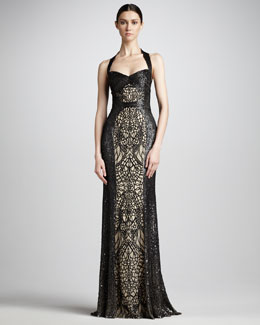 Monique Lhuillier Sequin-Lace Halter Gown
