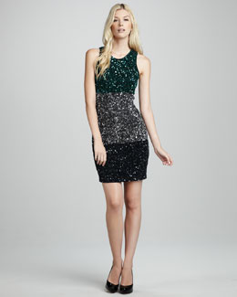 French Connection Sequined Colorblock Dress