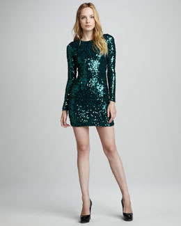 French Connection Sequined Fitted Dress