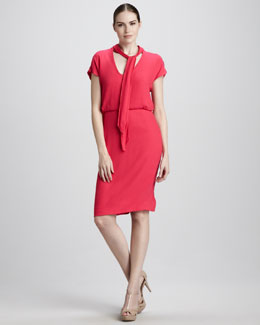 Rachel Roy Tie-Neck Crepe Dress