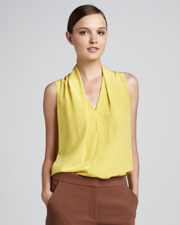 Rachel Roy V-Neck Drape Shell, Citrine