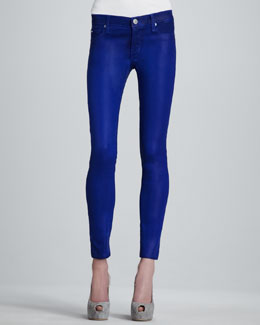 Hudson Krista Super Skinny Waxed Jeans, Blue My Mind