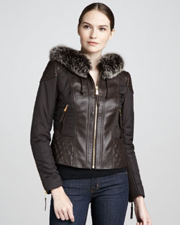Neiman Marcus Quilted Fur-Trim Leather Jacket