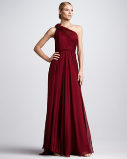Pamella Roland One-Shoulder Chiffon Gown